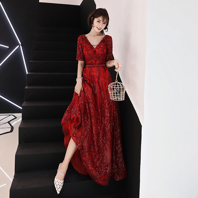 Red Evening Dress Female Banquet Noble Elegant dignified atmosphere Slim Sexy Wine Dress Annual Meeting Skirt Traditional Chinese Clothing