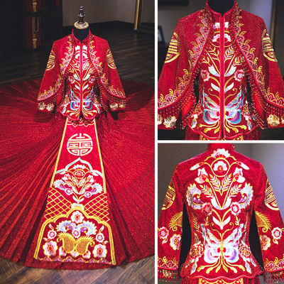 Traditional Chinese Clothing dress bride married Chinese wedding dress cabinet dress long-sleeved shawl cloak bride dress