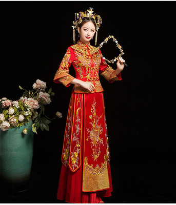 Traditional Chinese Clothing Chinese wedding dress slim toast dress bride cheongsam girl