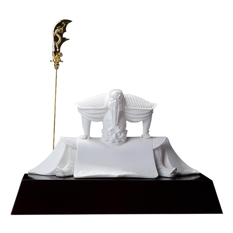 尚得堂德化白瓷纯手工雕塑开业店铺摆件关羽关二爷武财神关公坐像