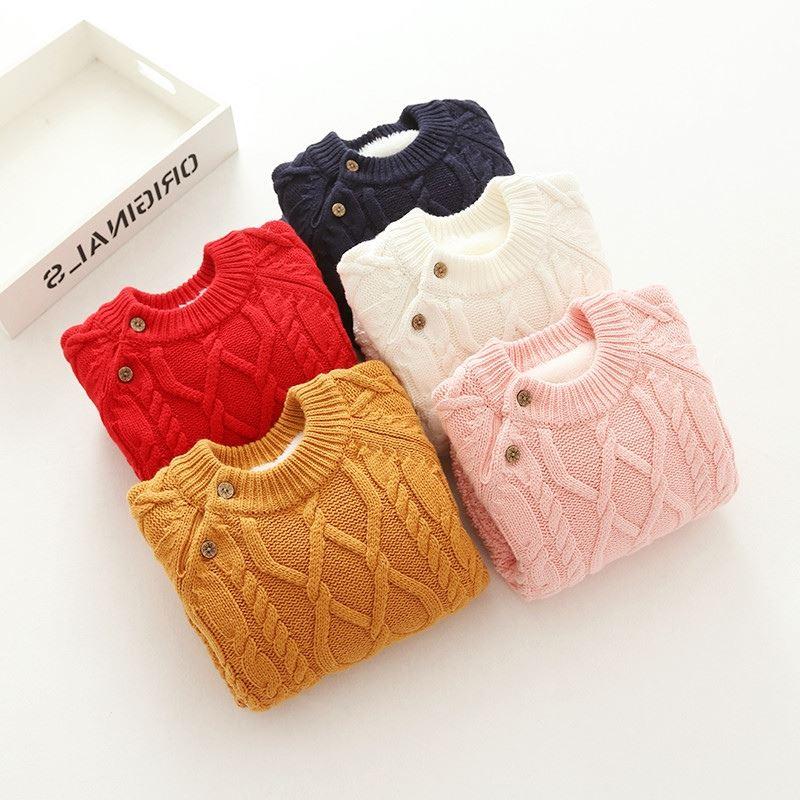 毛线冬季打底加绒加厚幼童针织小童女圆领0-1儿童2毛衣3宝宝衫4岁