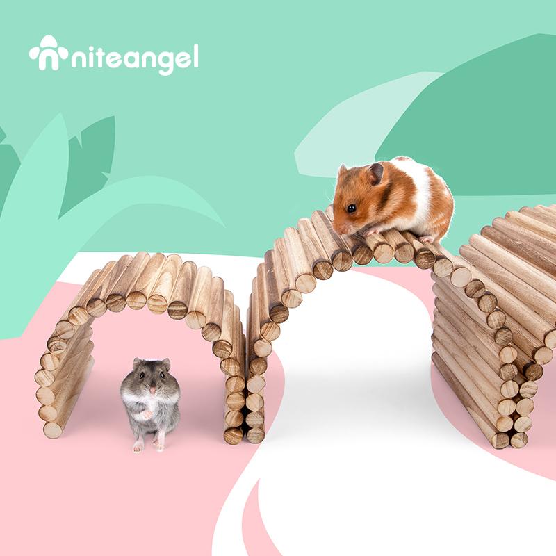 Niteangel艾特 炭烤杨木围栏仓鼠实木拱桥造景爬梯躲避
