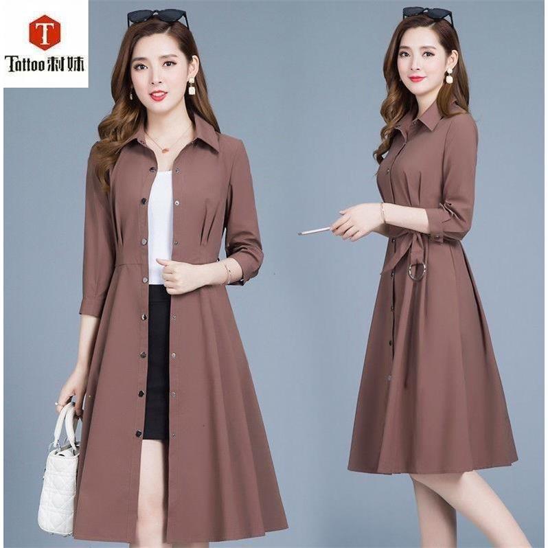 【刺妹】女装女中长款2018新款外套风衣修身显瘦秋装气质8033#
