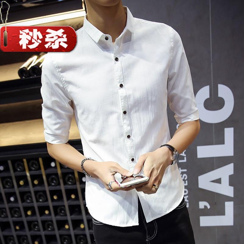 韩版纯色夏季七分中a袖衬衫男薄款学生青年五分修身英伦亚麻发型