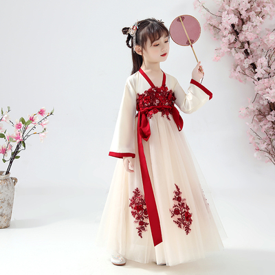 Childrens Chinese Hanfu ancient style fairy dress long sleeve little girls ancient dress girls Chinese style childrens dress