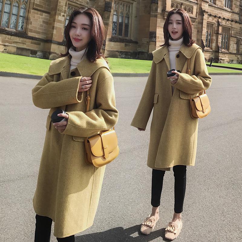 毛呢外套女中长款韩版2018新款呢子秋冬款修身学生学院风妮子大衣