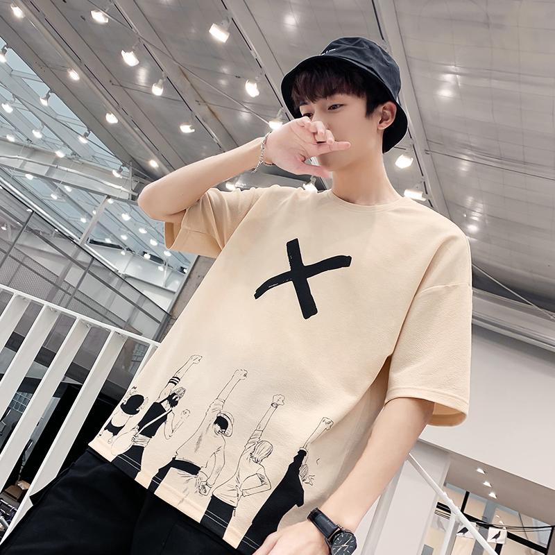 男士短袖t恤2019新款韩版潮流宽松半袖圆领体恤学生个性男装衣服