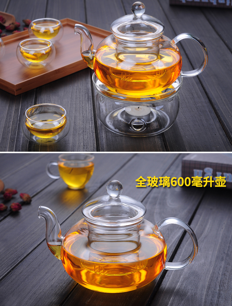 Heat resistant glass teapot warm flower cup base fruit flowers and the plants tea sets tea is pure and fresh and transparent filter
