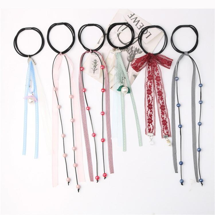 中國代購|中國批發-ibuy99|椽皮筋发圈女蕾丝带韩版两用札头绳女个性古装发绳套装束发长款小