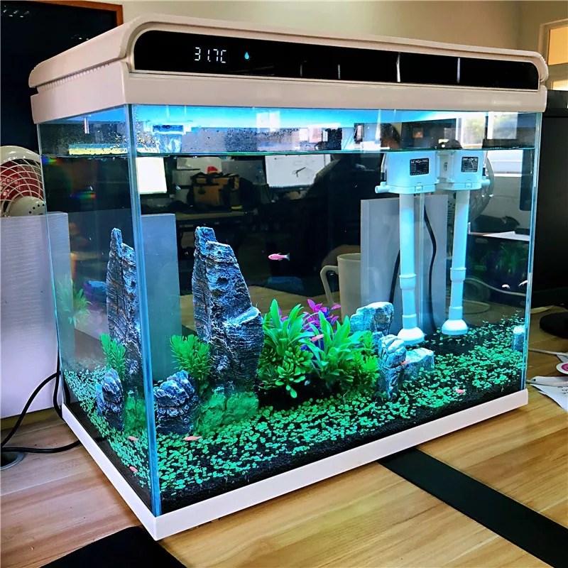 小型客厅超白生态小桌面懒人玻璃鱼缸新款水族箱森森免换水家。