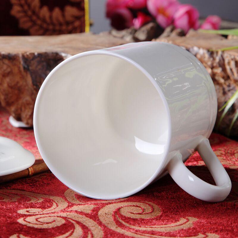 亚彩景德镇陶瓷茶杯带盖家用骨瓷杯喝茶杯青花瓷器办公杯子500ml