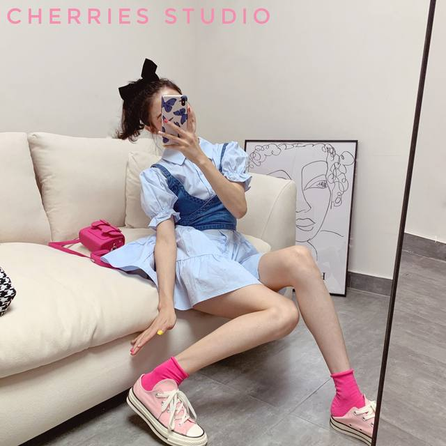 2020 summer new Korean denim camisole puff sleeve shirt dress western style two-piece female