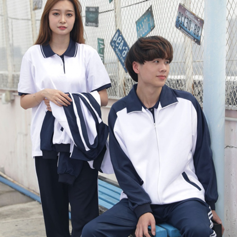 School uniform set Junior High School students short-sleeved shirt straight beam foot school uniform pants autumn and winter long-sleeved jacket class clothes