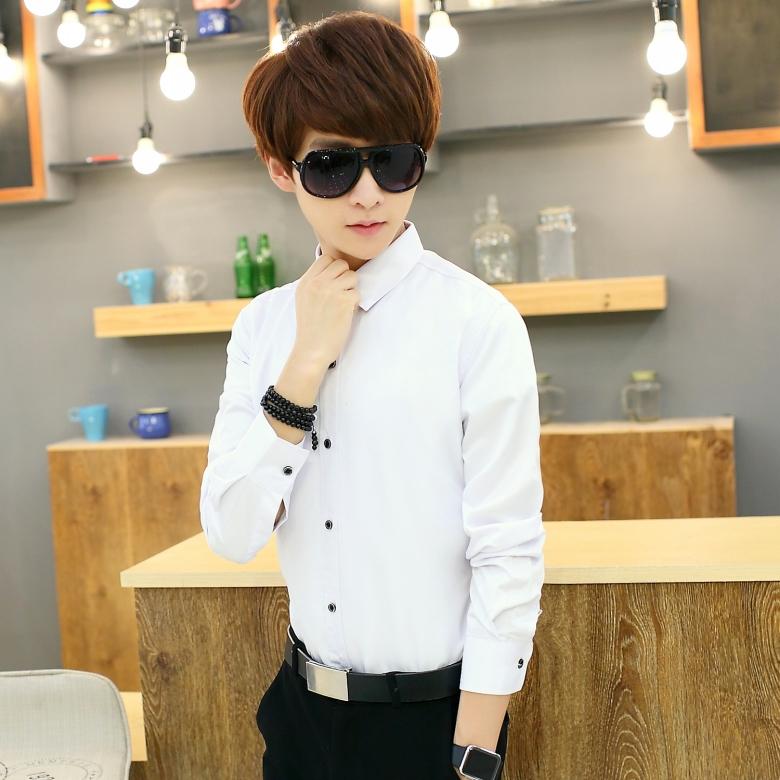 Mùa thu màu rắn nam dài tay áo Hàn Quốc kinh doanh bình thường chuyên nghiệp ăn mặc áo sơ mi trắng inch phù rể quần áo nam quần áo áo sơ mi hồng nam