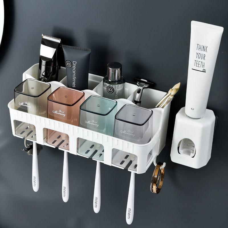 免打孔吸壁式牙刷架洗漱杯套装卫生间漱口杯创意洗漱台浴室置物架