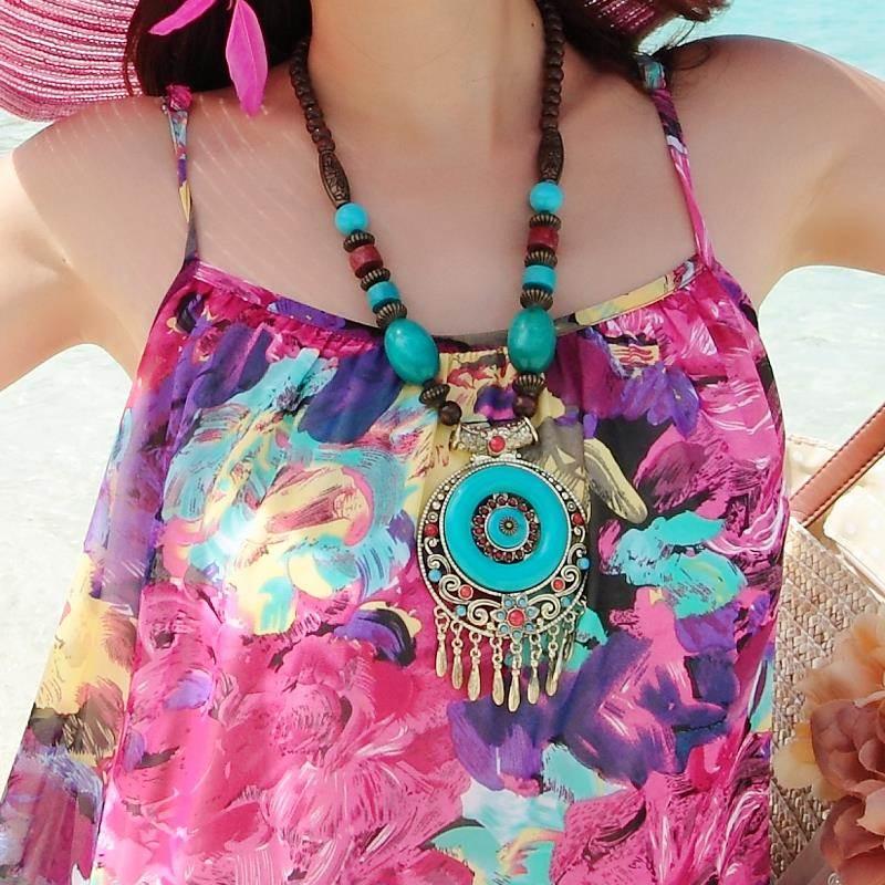 夏大码雪纺胖MM海边度假沙滩裙套装波西米亚长裙泰国连衣裙海滩裙