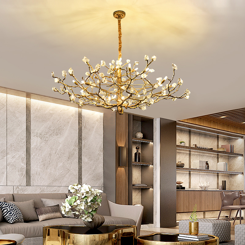 French all copper light luxury crystal chandelier living room dining room high-end villa club duplex building atmospheric bedroom lamps