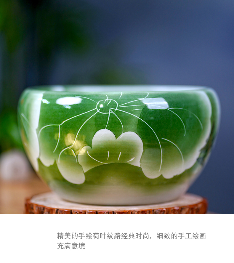 Jingdezhen ceramic tank mesa small tortoise hand - made lotus cylinder home furnishing articles I and contracted sitting room adornment