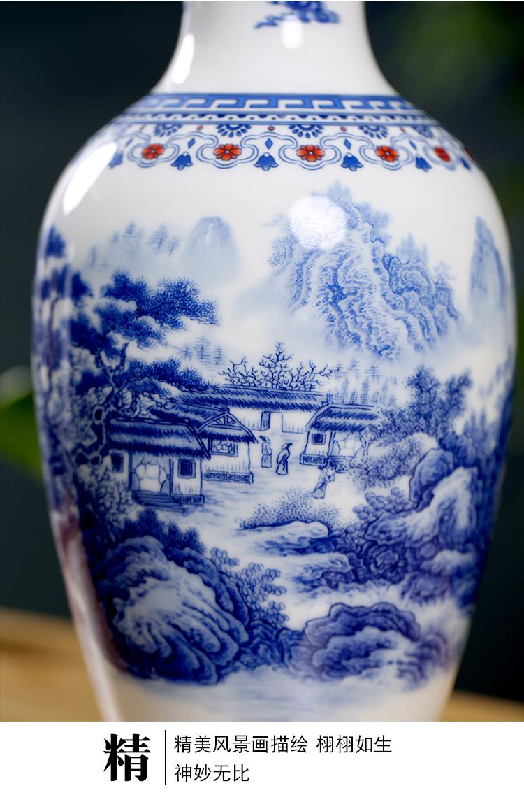 Jingdezhen blue and white porcelain of modern Chinese ceramic furnishing articles home sitting room mesa floret bottle arranging flowers desktop ornaments