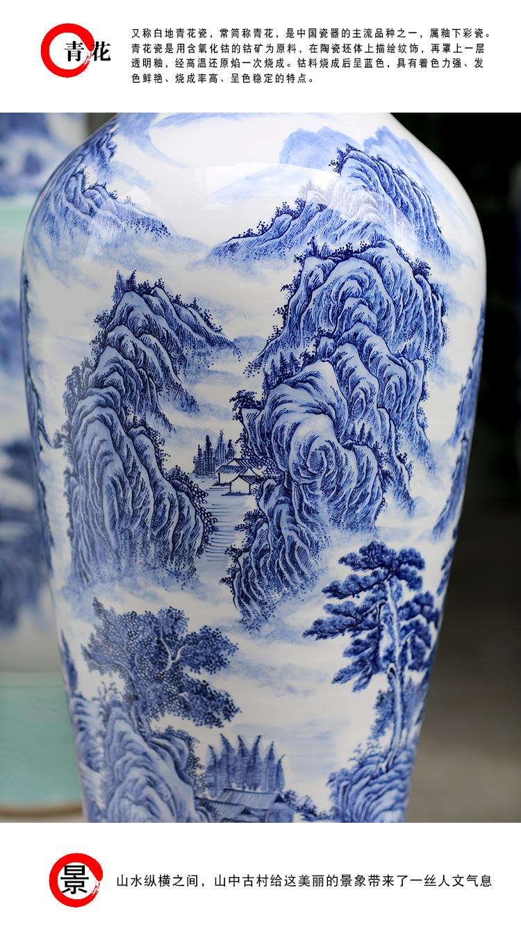 Jingdezhen blue and white porcelain hand - made jiangnan spring scenery landscape painting of large vase household ceramic furnishing articles sitting room adornment