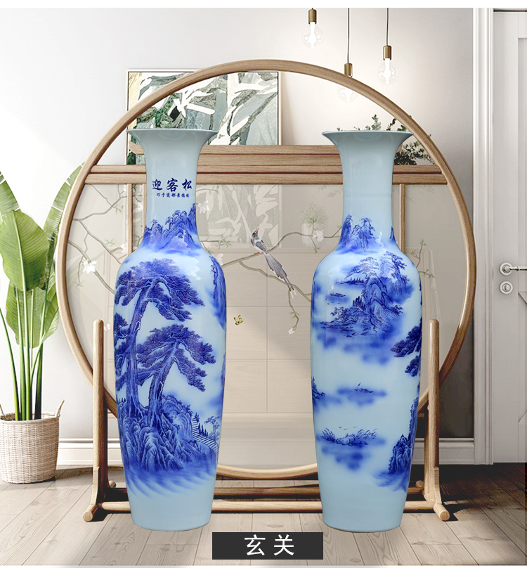 Jingdezhen blue and white porcelain guest - the greeting pine TV ark of large vase household the sitting room porch place opening gifts