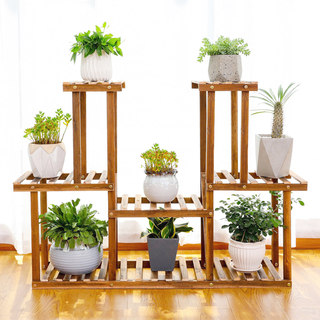 Anti-corrosion wood Nordic wooden flower shelf indoor home multi-meat potted hanged orchid basin frame with wheel multi-layers