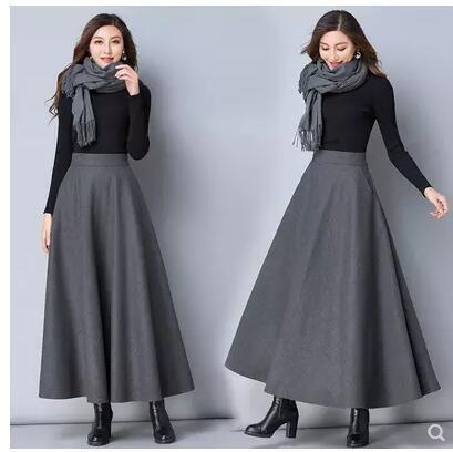 大摆裙摆冬款毛呢裙女冬仙女长裙长款黑裙复古孕妇半身a裙摆加厚