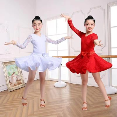 Girls Latin Dance Dresses Girls' Latin dance clothing children's training clothing competition children's performance clothing dance lace dress