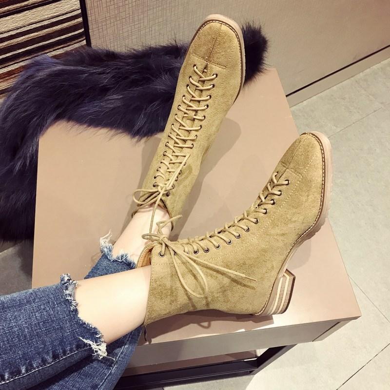 秋冬新款韩版时尚系带平底短靴子马丁靴女鞋子潮加绒棉鞋