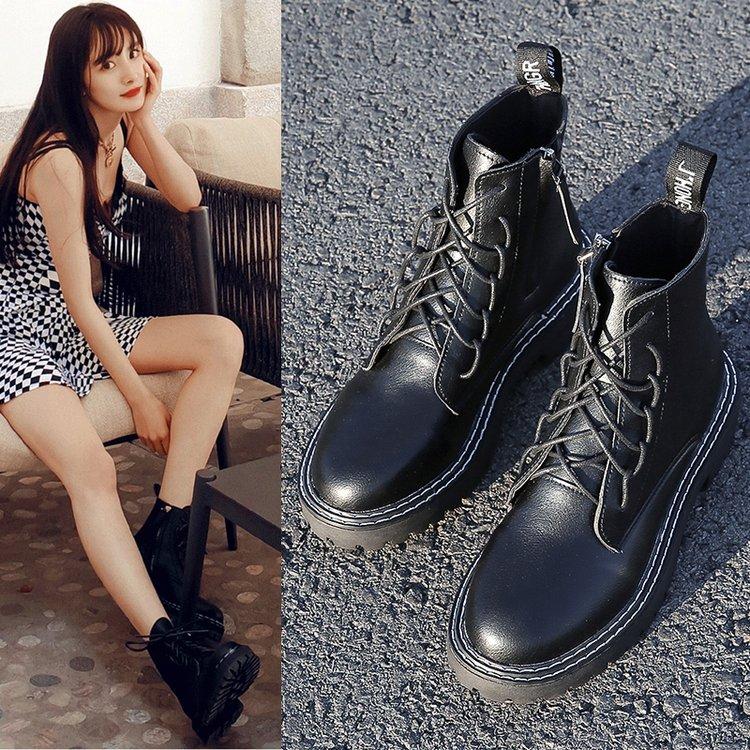 明星同款马丁靴女春秋透气靴子英伦风短靴帅气机车马丁靴女酷黑色