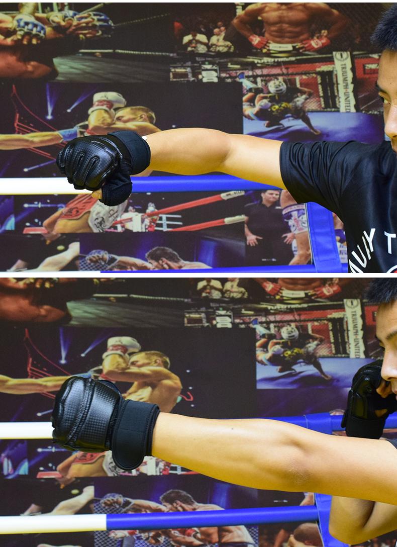 拳击手套拳套散打男孩儿童打沙袋专用女训练正品抟击泰拳小孩半指详细照片