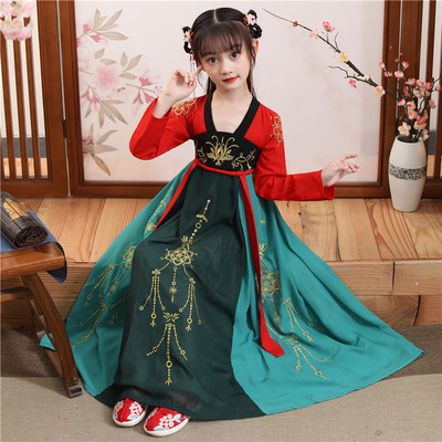 Childrens Chinese Hanfu girl spring Chinese style Ru skirt childrens ancient Chinese Hanfu long sleeve suit girls dress