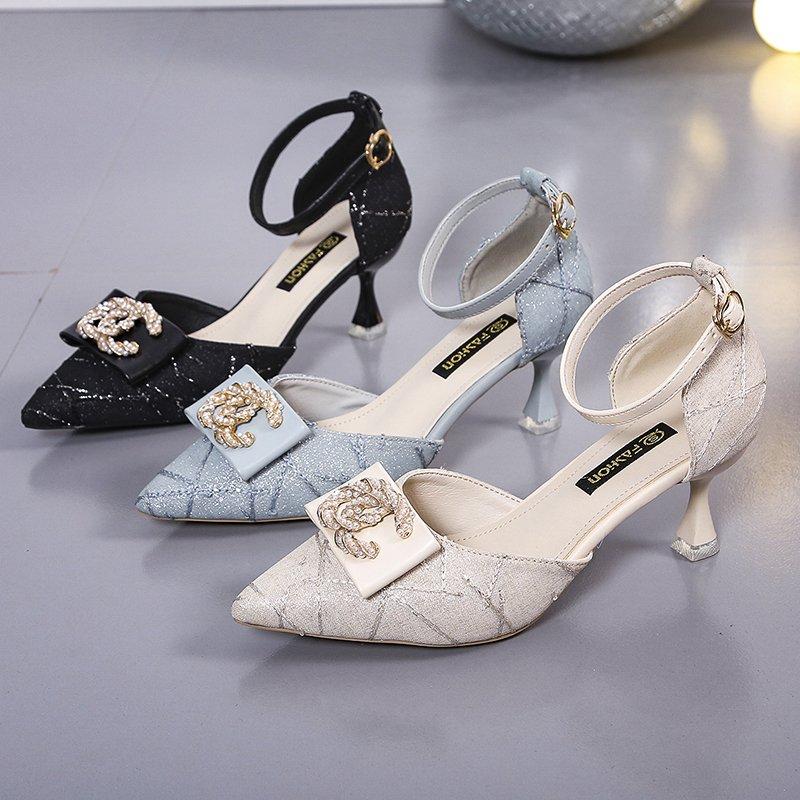 2021夏季新款尖头高跟鞋女细跟凉鞋女包头中空一字扣单鞋女蝴蝶结