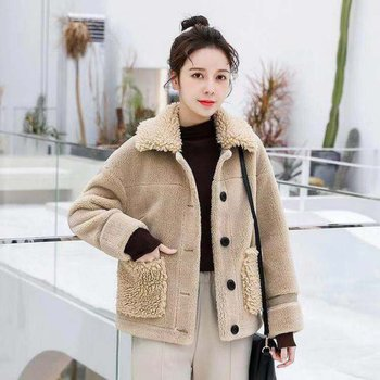 Thick red lamb fur coat winter loose short cut fleece warm woolen coat