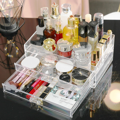 Desktop cosmetic storage box, multi-grid lipstick holder, dressing table, acrylic skin care, drawer type jewelry storage