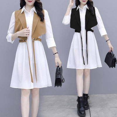 Two-piece set 2021 spring new temperament vest seven-point sleeve shirt skirt design sexy dress two-piece female