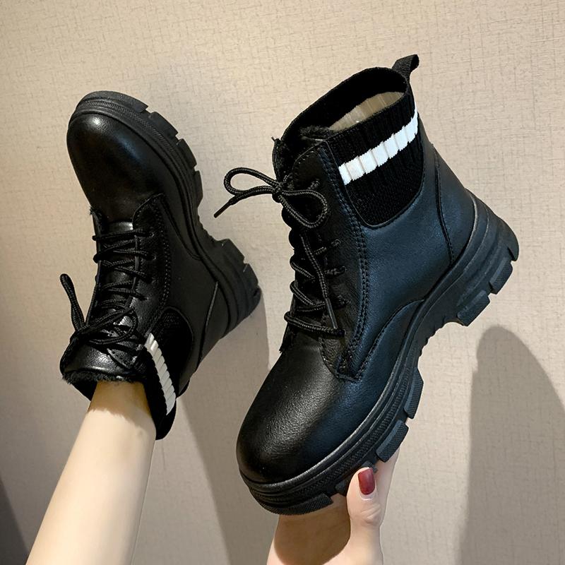 马丁靴女秋冬季2019新款韩版百搭加绒英伦靴子车靴网红厚底短风机
