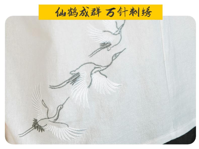 夏季中国风仙鹤刺绣棉麻T恤五分袖V领拼接盘扣上衣6023-YM907-P55
