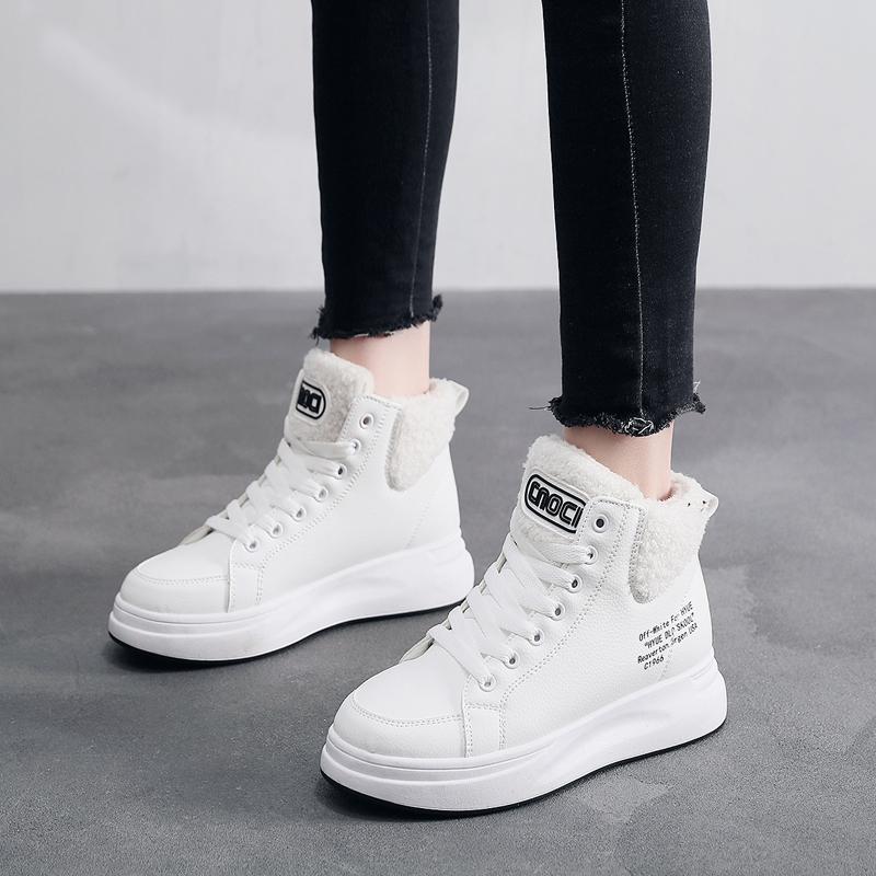 冬季女款加绒小白鞋女新款高帮秋鞋休闲百搭帆布潮鞋2019款保暖H