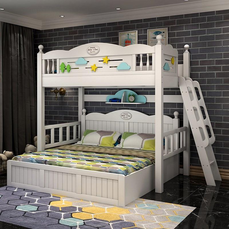 韩式白色床上下全实木儿童铺组合交错式书桌双层高低床1.8米大床