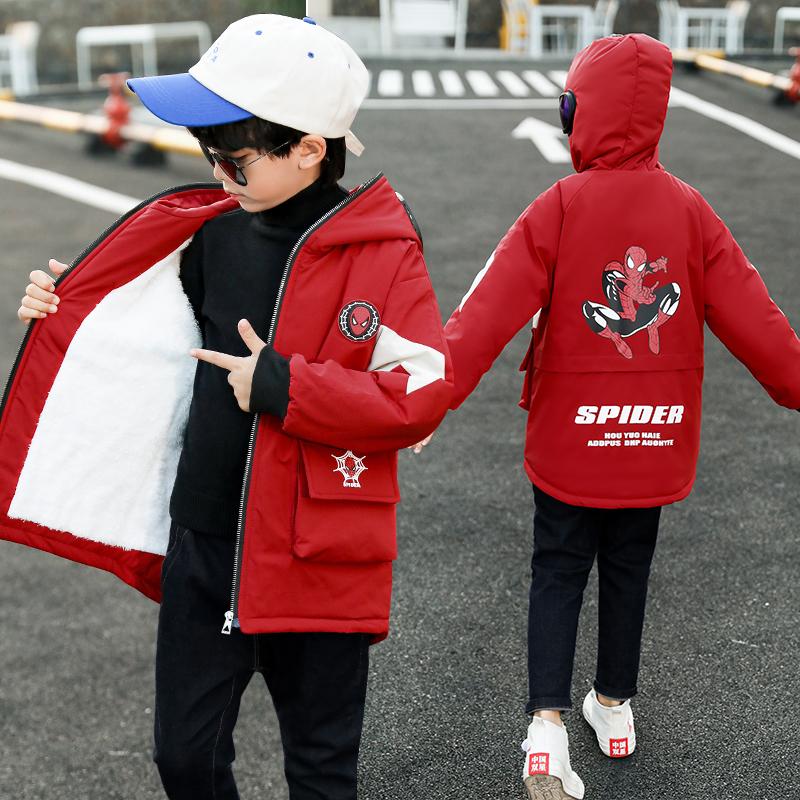 男童2020新款冬装棉衣加绒中大童男孩羽绒棉服中长款韩版洋气棉袄