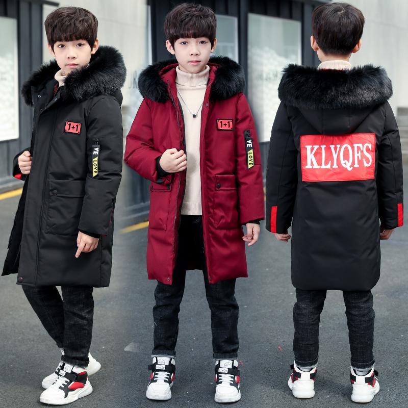 儿童男童棉服2019新款中长款加厚手塞棉衣中大童洋气棉袄冬装外套