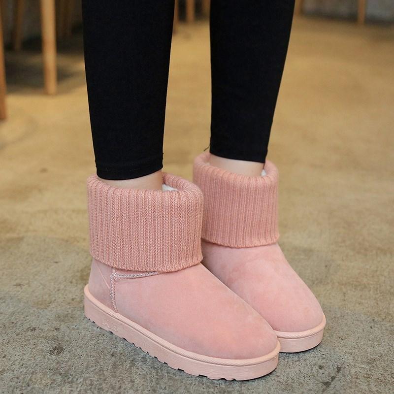 老人口毛毛鞋雪地初中生耐磨冬毛线女靴短靴上班棉靴淑女174558