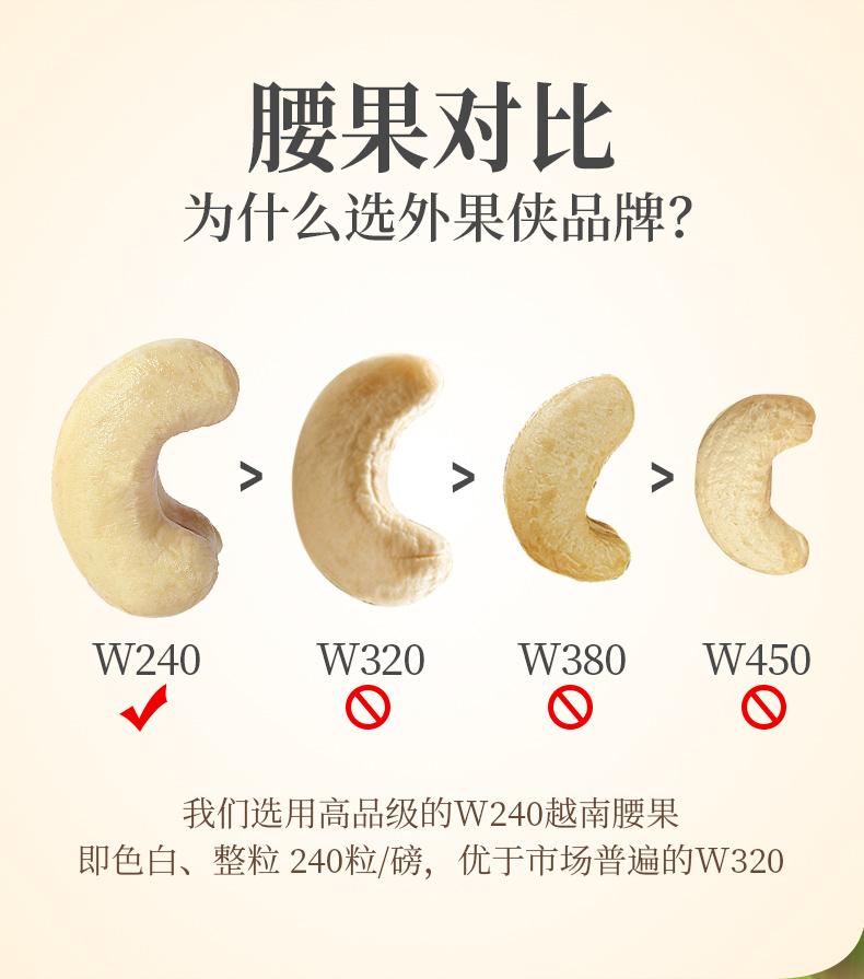 外果侠 越南原味腰果仁 500g/罐 W240大粒 图5