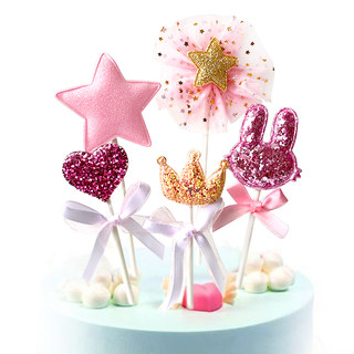 Pink Girl Heart Cake Insert Card Love Star Crown Bunny Birthday Cake Decoration Plug-in 5pcs