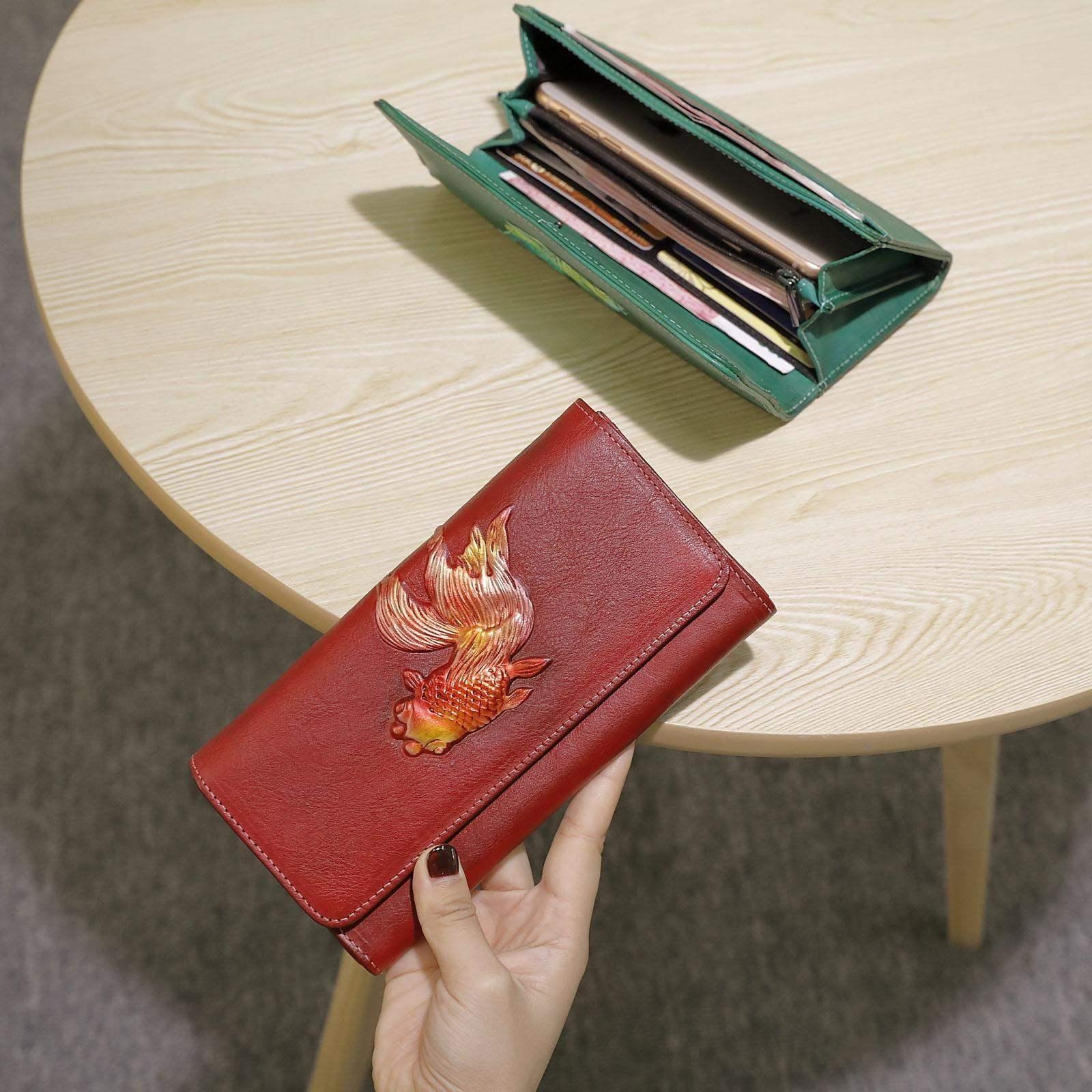 欧洲站高档中国风皮夹真皮长款气质大容量头层软女士钱包v皮夹牛皮