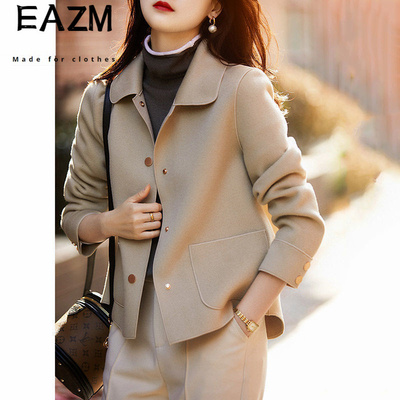 2021新款秋冬季简约轻奢翻领短外套女装气质时尚宽松百搭上衣C