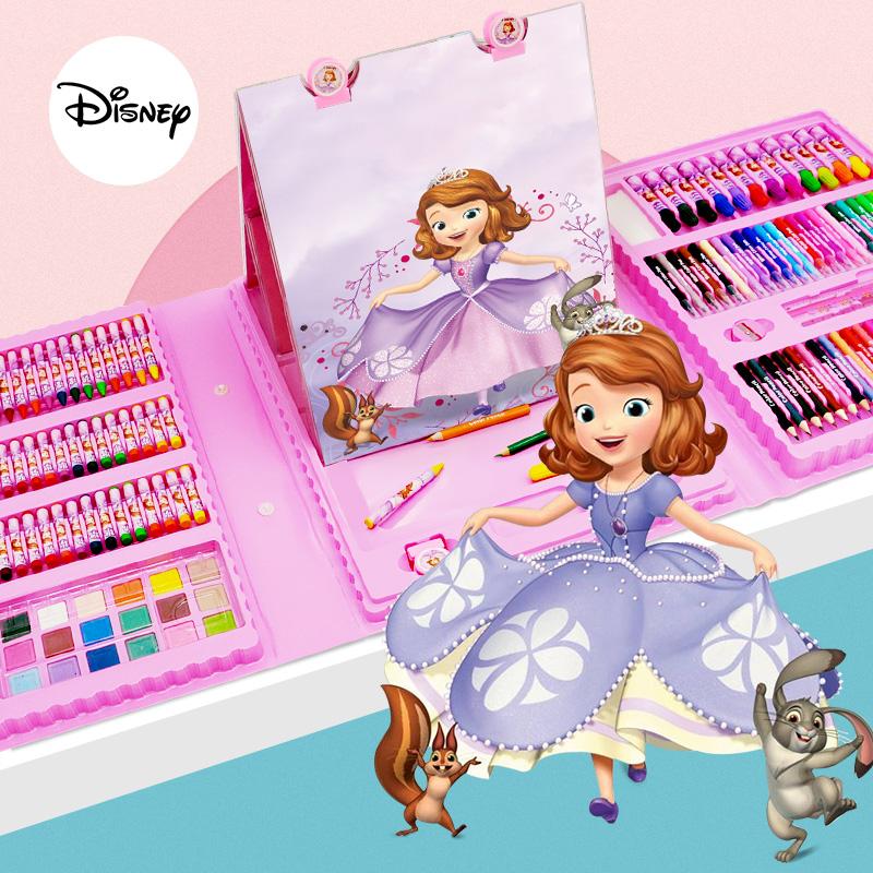 迪士尼水彩笔套装带画架儿童绘画套装美术用品画画笔画画工具小学生水彩笔幼儿园蜡笔水粉套装38色水彩笔