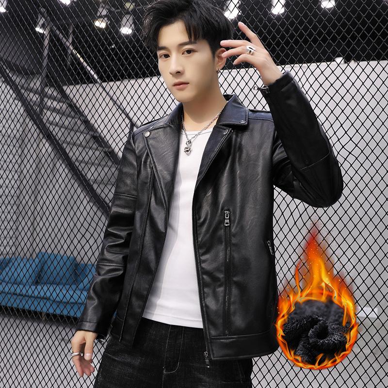 加绒男士皮夹克冬季款外套机车韩版青年修身皮衣帅气修身v男士潮流
