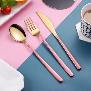 Nordic high-end steak cutlery plate set household Western tableware two-piece ins wind knife fork spoon three-piece set